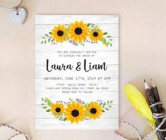 Bridal shower invitations with sunflowers sunflower wedding perfect for fall weddings mid wreath invitation printed cheap rustic country invit Rustic Bridal Shower Invitations, Sunflower Wedding Invitations, Country Wedding Invitations, Wedding Invitation Sets, Invites, Invitation Cards, Free Wedding Invitation Templates, Quinceanera Invitations, Envelopes