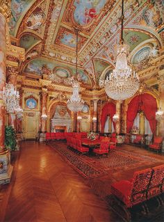 Dining room at The Breakers Mansion in Newport, Rhode Island.