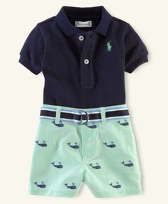 Ralph Lauren Baby Set, Baby Boys Polo and Schiffli Shorts