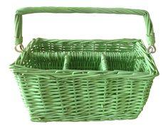 Vintage Green Wicker Utensil Caddy on Chairish.com
