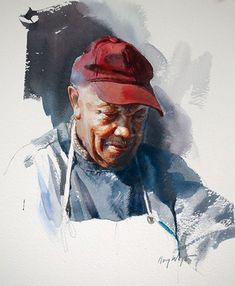Obediah by Mary Whyte, watercolor painting. Example of back shading Watercolor Artists, Watercolor Portraits, Artist Painting, Figure Painting, Painting & Drawing, Watercolor Paintings, Watercolours, Watercolor Trees, Gouache Painting