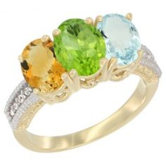 14K Yellow Gold Natural Citrine, Peridot. This Gorgeous Ring is made of solid 14K Gold set with All-Natural Gemstones and accented with Genuine Brilliant Cut Diamonds.