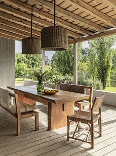 Gorgeous Outdoor Rooms to inspire Summer Entertaining. A home in Garzón a quaint village near the southeastern coast of Uruguay features rustic accents including a pair of pendants and a dining table made of Brazilian wood. Home Decor Home Decor Kitchen, Home Decor Bedroom, Room Decor, Elle Decor, Modern House Design, Modern Interior Design, Rustic Furniture, Outdoor Furniture Sets, Modern Furniture