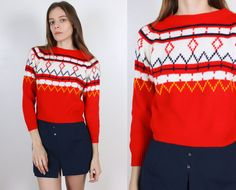 Vintage Cropped Sweater // 80s Pullover Jumper Cropped Striped Red Fair Isle - Extra Small xs