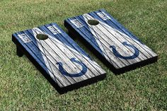 Indianapolis Colts NFL Football Cornhole Game Set Triangle Weathered Version