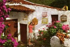 Casa Canaria tipica. Canario, Canary Islands, Vacation Destinations, Paradise, Patio, Astronomy, Artist, Nature, Painting
