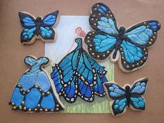The card was an inspiration for these cookies. Black Blue butterfly cookies