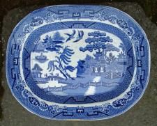 antiques & vintage price guide of Antique English Willow ware platter blue and white