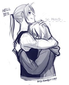 do you ever just stop and think how proud Ed is of himself? He's finally taller than Winry YAAAAY mission accomplished. by viria