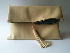 Faux leather clutch bag with tassles, make a handmade bag with allaboutyou.com