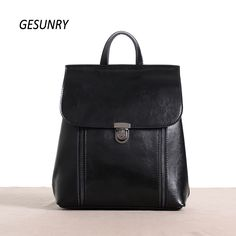 (39.00$)  Watch here  - Fashion Genuine Leather Women Backpack Hot High Quality Famous Brand Preppy Style String Women School Bag Girl Travel Bags