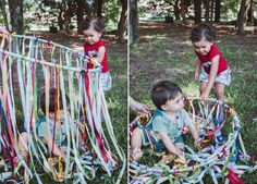 Cortina Sensorial com Fitas | Ribbons and a Hula Hoop: sensorial activities for babies and kids
