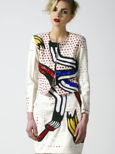 that blazer!!   The Brush Strokes Twin Set is inspired by Roy Lichtenstein and a handmade artwork piece, with intense sequin and embroidery work.   designer: The Rodnik Band