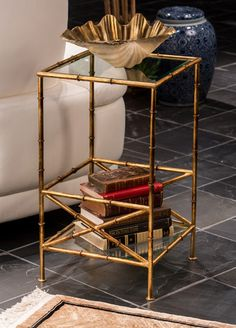 Awesome Antique Gold Bamboo Two Tiered Table U2013 Lady Builder Shops