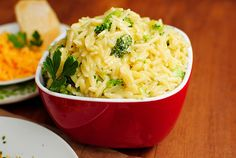 cheesy broccoli orzo by iowagirleats