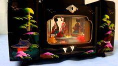 Vintage Japanese Black Lacquer Geisha Girls Pearl Inlay Jewelry Trinket Box