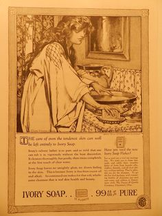 1920 ORIGINAL OLD PRINT AD, IVORY SOAP, 99-44/100% PURE, PROCTOR & GAMBLE CO.  #IVORYSOAP