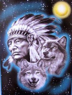 Indian Cheif & Wolf Polar Fleece Throw Blanket 50x60