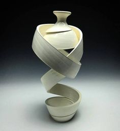 Slinky Spirals of Clay Form Topsy-Turvy Vases by Michael Boroniec Colossal