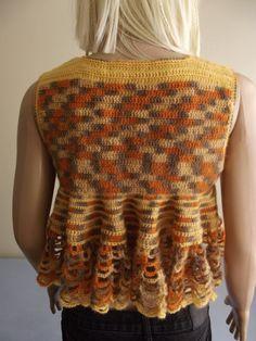SUNFLOWER - CROCHET SHRUG / Crochet Bolero / Crochet Vest / Sleeveless Shrug / Sleeveless Bolero / Wavy Hem / Ruffled Shrug. $55,00, via Etsy.