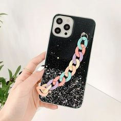 Cute Phone Case For iPhone 11 12 Pro Max 12 Mini XS Max X XR 8 7 Plus Gradient Glitter Rainbow Wrist Chain Clear Soft Back Cover | Touchy Style Cute Iphone 5 Cases, Cute Cases, Iphone 5c, Iphone Phone Cases, Cheap Iphones, Bracelet Designs, Couple Gifts, Glitter, Rainbow
