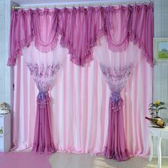 Purple Lace Curtains | Pink-Quality-embroidered-lace-curtain-purple-window-finished-Curtain ...