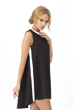 Makadamia M149 Sukienka - czarno - biała