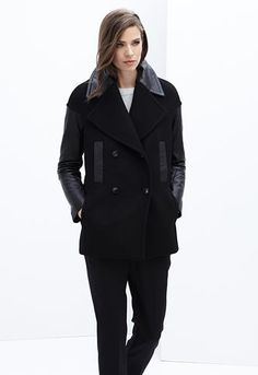Danier Camilla Wool Blend Peacoat with Lamb Leather Sleeves