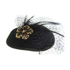 """Christys Crown """"Mae"""" Cocktail Hat Wool Felt (€14) ❤ liked on Polyvore featuring accessories, hats, cappelli, black, fascinator, cocktail hat, fascinator hats, holiday hats, felt hat and woolen hat"""