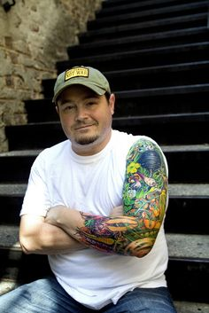Detail from the whole sleeve tattoo on chef Sean Brock, Louiuana.