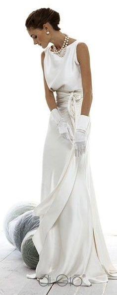 Elegant white on white with pearls wedding dress