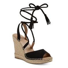 Women's Maren Lace Up Wedge Espadrille Sandals - Merona Black 5.5
