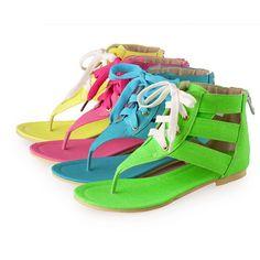 Roman Womens Flip Flop Lace Up Flat Gladiator 4 Colors Zipper Sandals SizeUS4-11 #brandnew #FlipFlops