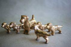 Vintage Porcelain Dog Family Figurines Gold Glaze by susantique