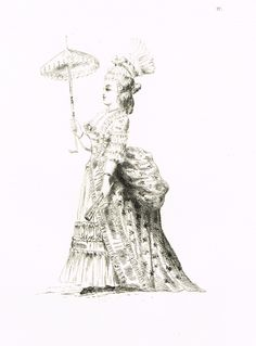 Planche 4 - Madame Nicolle. Bourgeoise... - Costumes du XVIIIe siècle tirés des Prés Saint-Gervais - 20 eaux-fortes de Guillaumot fils d'après les dessins de Draner - 1874 - MAS Estampes Anciennes - Antique Prints since 1898