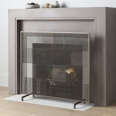 Ansel Plaid Fireplace Screen | Crate and Barrel