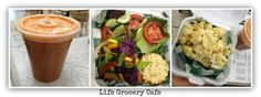 vegan eats at Marietta Life Grocery and Cafe!!  - Sweet Green Life: Romaine, celery, apple, carrot   - Organic Blondie Burger with Veggie of the Day ...................................................................................... $6.99 White beans, oats, and wild rice burger, seasoned with Middle Eastern herbal blend, Daiya soy mozzarella cheese,* sea salt,* sautéed onions on a freshly baked wheat roll with lettuce and soy mayonnaise.*  - Vegan Garlic Mac & Cheese