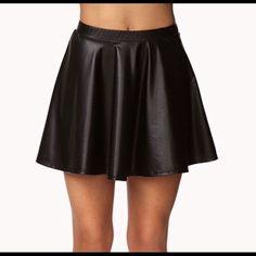 Black faux leather skirt Black faux leather skater skirt Skirts Circle & Skater