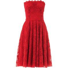 DOLCE & GABBANA Macramé lace strapless dress ($1,936) ❤ liked on Polyvore featuring dresses, vestidos, short dresses, red, red lace cocktail dress, red dress, short red cocktail dress, red strapless dress and knee length cocktail dresses