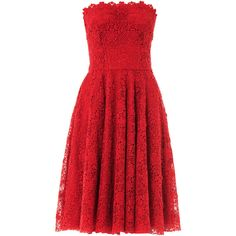 DOLCE & GABBANA Macramé lace strapless dress ($1,936) ❤ liked on Polyvore featuring dresses, vestidos, short dresses, red, red lace cocktail dress, red dress, short red cocktail dress, red strapless dress and knee length cocktail dresses