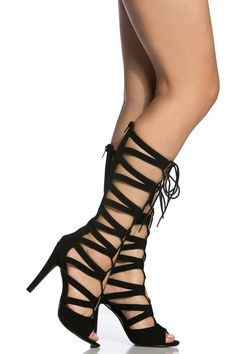 Black Faux Leather Mesh Contrast Lace Up Heels @ Cicihot Heel