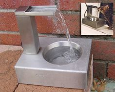 This is a one-of-a kind falling water cat drinking fountain by metal artist Marc Russo. He crafted the fountain after watching his cat drink from a running faucet. I hope he decides to produce these for sale someday. Cat Water Fountain, Drinking Fountain, Cat Drinking, Wall E, Crazy Cat Lady, Crazy Cats, Dog Water Bowls, Cat Stands, Pet Treats