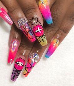 gorgeous ghetto nails so wild and fun  nail art in 2019