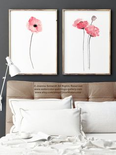Coral Red Poppy Flower set 2 Art Prints by ColorWatercolor on Etsy #poppy #coral #red #flower #nursery #decor #poster
