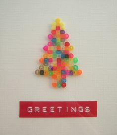 Perler Christmas tree card