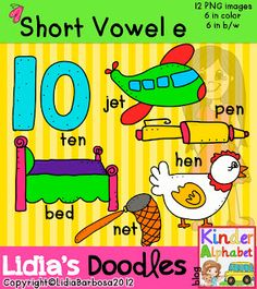 Kinder Alphabet: Short Vowels Clip Art with CVC Word Patterns -The bundle is also available for all the vowels. Phonics Activities, Writing Activities, Writing Skills, Math Games, Word Study, Word Work, School Fun, School Days, Classroom Organization