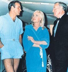 Sean Connery with Shirley Eaton and Ian Fleming, on the set of Goldfinger, 1964