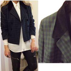 Vintage TARTAN Clueless Preppy Velvet Contrast Collar BOXY Blazer Jacket 12 14 Urban outfitters