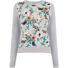 Oasis Enchanted Print Jumper (2.350 RUB) ❤ liked on Polyvore featuring tops, sweaters, clearance, grey, print sweater, gray sweater, jumpers sweaters, gray top and patterned sweater