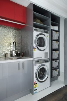 perfect laundry room designs ideas for small space 16 ~ mantulgan.me perfect laundry room designs idea. Small Laundry Rooms, Laundry In Bathroom, Small Rooms, Small Spaces, Laundry Room Remodel, Laundry Room Cabinets, Laundry Room Organization, Drying Room, Small Space Interior Design